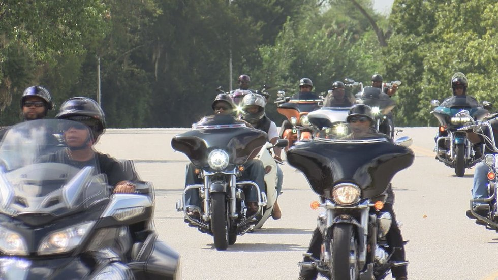 Bikers at the benefit ride