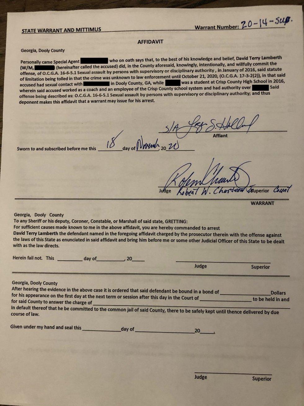 A copy of the arrest warrant issued against former Crisp County baseball coach David Lamberth....
