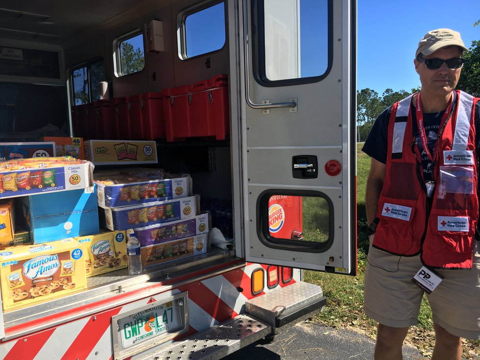 The American Red Cross Central Florida Chapter gave out food and drinks to residents in Newton...